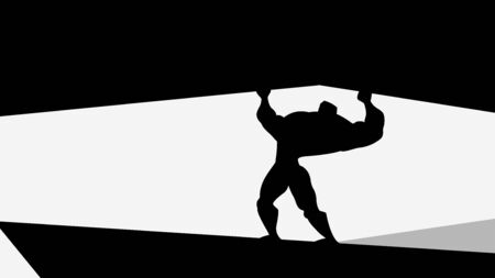 heroic man silhouette holding a rock
