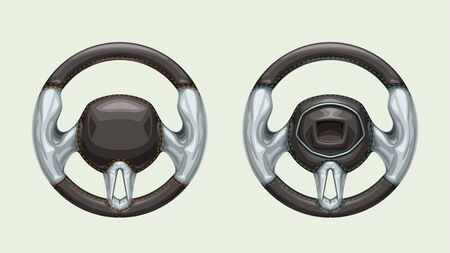 couple steering wheels on white