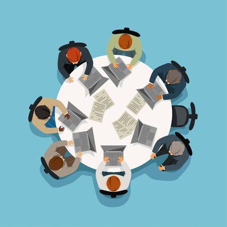 vista de reunión de negocios desde la parte superior