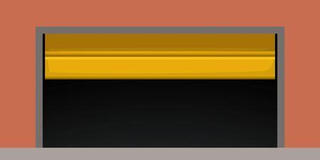 modern yellow garage door on red