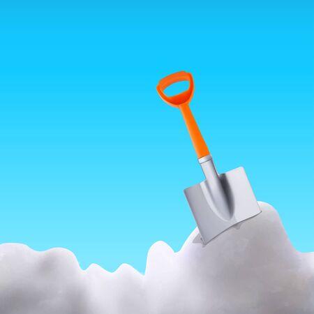 orange plastic shovel in snow