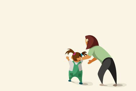 illustration of cartoon mother and child first step isolated on bright background Vector Illustration