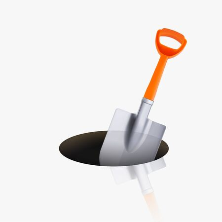 orange shovel in hole on white Ilustrace