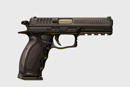 realistic modern handgun on white