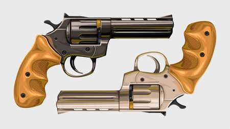 two classic revolvers on white Vector Illustration