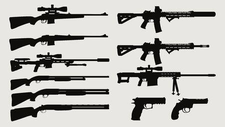 arma, silueta, vista lateral, conjunto