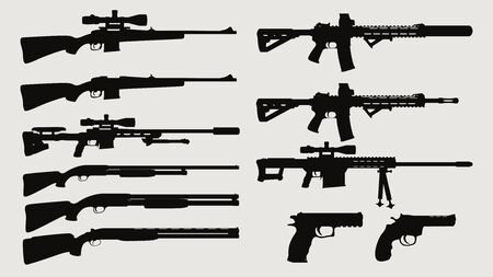 weapon silhouette side view set