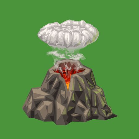 cartoon volcano isolated on green