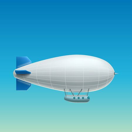 realistic white airship side view Vettoriali