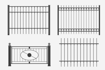 illustration of modern black metal fence set isolated on white background