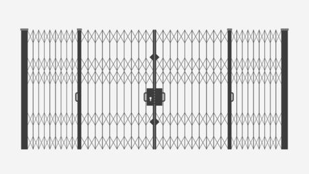 illustration of sliding metal gates closed black color isolated on white background Vecteurs