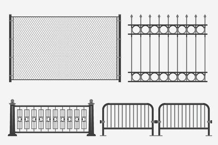 illustration of flat design metal fence set isolated on white background