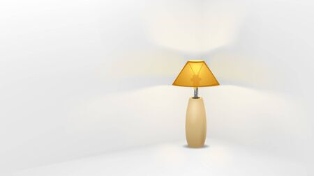 illustration of retro lamp standing in corner of white room Banque d'images - 145092161