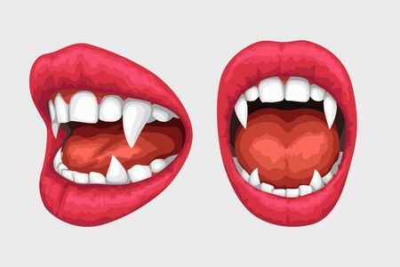 vampire lips white teeth set Vecteurs