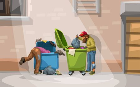 illustration of couple male homeless searching in garbage containers at street Ilustração