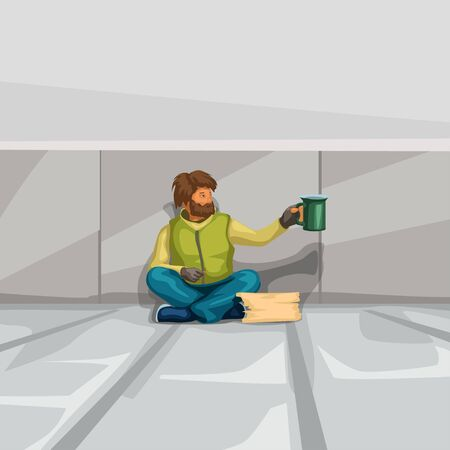 homeless sitting at grey wall Illustration
