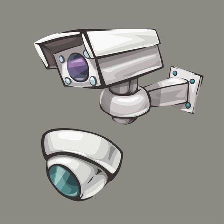 surveillance camera set on gray Illustration