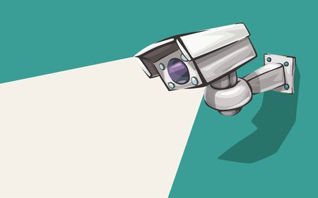 white security camera on green Illustration