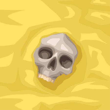 cartoon skull lying on sand
