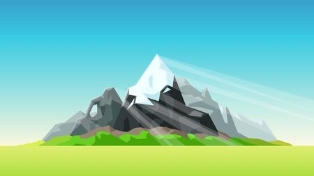 mountains with bright sunlight beams Stock Illustratie