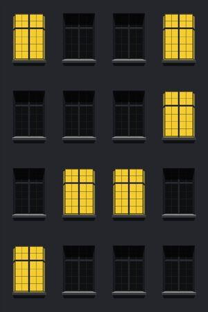 facade house apartments at night