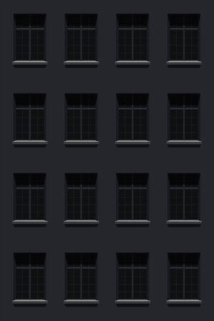 facade house windows at night Иллюстрация