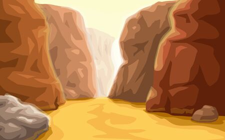cartoon canyon landscape at bottom