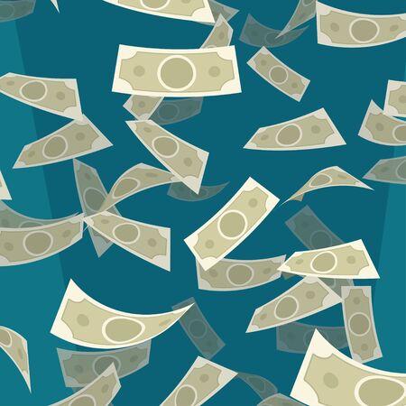 flying money on blue background