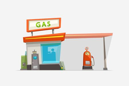gas station isolated on white Иллюстрация