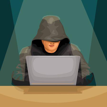 hacker front sitting in light Иллюстрация