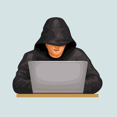 hacker wearing black clothes front Vectores