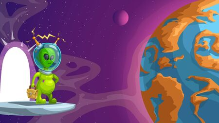 green funny alien space tourist