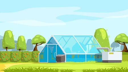 greenhouse in beautiful nature landscape
