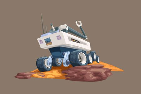 mars rover on yellow ground