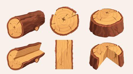 wooden materials set on white Illustration