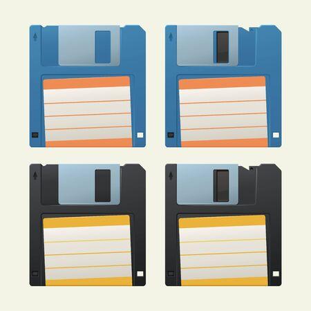 retro diskettes set on white