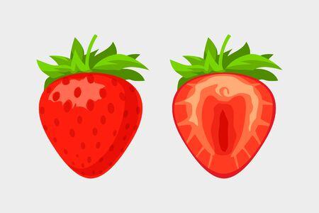 strawberry set on white background