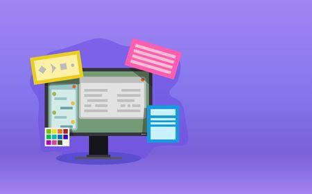 web design elements violet background Иллюстрация