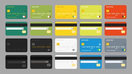 big credit cards set isolated Иллюстрация