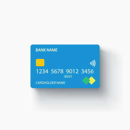 blue color credit card with realistic shadow