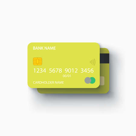 green plastic credit cards front and back Ilustracja