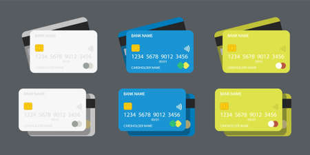 set credit cards various colors on grey Ilustracja