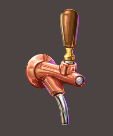 copper realistic brown beer tap on dark Ilustracja