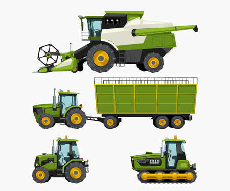 farm vehicles set isolated on white back Vecteurs
