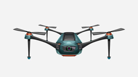 front view modern colorful drone on white Ilustracja