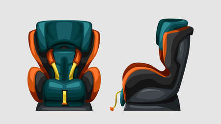 front and side view baby car seat Ilustracja