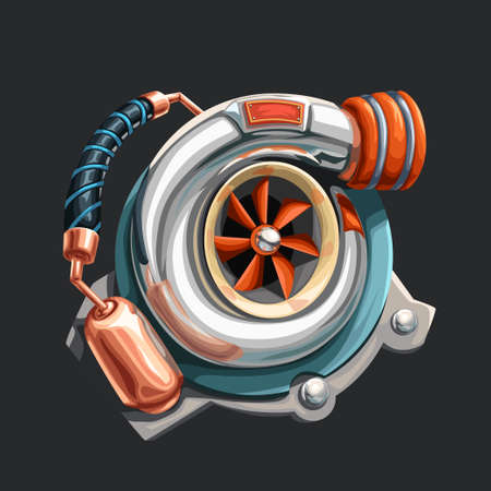 realistic chrome turbo charger with copper detail Ilustracja
