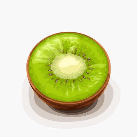 kiwi fruit half lying on white back