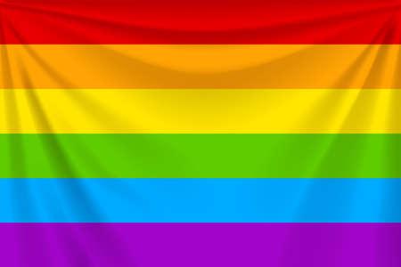 realistic waving rainbow flag with folds Иллюстрация