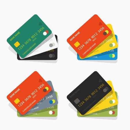set various color credit cards on white
